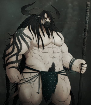 leftski-art:  *chanting* New D&D character! New D&D character!This is Graves the Minotaur Warlock. His patron is a kraken.: leftski-art:  *chanting* New D&D character! New D&D character!This is Graves the Minotaur Warlock. His patron is a kraken.