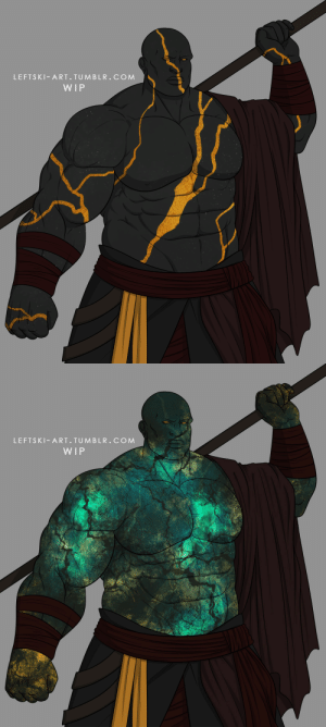 leftski-art:  Need your help, I'm designing an Oread monk and I'm torn between which skin effect I want to go with: kintsugi on the left or labradorite on the right: leftski-art:  Need your help, I'm designing an Oread monk and I'm torn between which skin effect I want to go with: kintsugi on the left or labradorite on the right