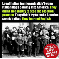 Memes, Patriotic, and Riot: Legal Italianimmigrants didn't wave  Italian flags coming into America. They  didn't riot and try to stopthe election  process. They didnt try to make America  speak Italian. They learned English.  JOIN US  STOP  RY RE-POST PATRIOTS!