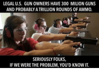 Seriously folks: LEGAL U.S. GUN OWNERS HAVE 300 MILION GUNS  AND PROBABLY A TRILLION ROUNDS OF AMMO.  SERIOUSLY FOLKS,  IF WE WERE THE PROBLEM, YOU'D KNOW IT. Seriously folks
