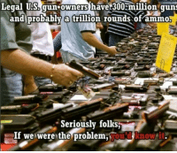 Like and share if you're not the problem!: Legal US. gun owners have 300 million guns  and probably a trillion rounds of ammo!  Seriously folks  If we were the problem Like and share if you're not the problem!