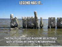 America, Memes, and Being Salty: LEGEND HAS IT  THAT THE PILLARS OF SALT  soDOM ARE ACTUALY  SALTY VETERANS IN COMPLETE METAMORPHOSIS  makeameme.org secerts salty saltyaf veterans veteran vet combat combatvets combatveteran military militarylife militarymemes usa america americanmade american hero heroes army navy marinecorps airforce coastguard nationalguard