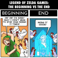 Swipe to see all the panels!: LEGEND OF ZELDA GAMES:  THE BEGINNING VS THE END  BEGINNING  END  OW! OW! I'M SORRY  OKAY! I DIDN'T MEAN  TO STAB YOUR FRIEND  BRING IT  17 TIMES!  OOOON! Swipe to see all the panels!