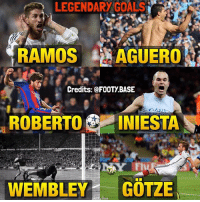 These goals have made history 😻 Which one's the most legendary? 👇 Double Tap & Follow @footy.base for more! 📲: LEGENDARY GOALS  RAMOS i AGUERO  Credits: FOOTy BASE  DAN  ROBERTO  INIESTA  WEMBLEY  GOTZE These goals have made history 😻 Which one's the most legendary? 👇 Double Tap & Follow @footy.base for more! 📲
