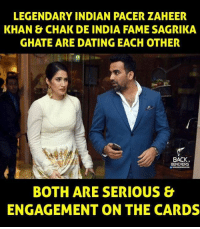 zaheer khan: LEGENDARY INDIAN PACER ZAHEER  KHAN & CHAK DE INDIA FAMESAGRIKA  GHATE ARE DATING EACH OTHER  BACK  BENCHERS  BOTH ARE SERIOUS &  ENGAGEMENT ON THE CARDS