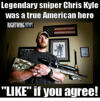 """Memes, News, and True: Legendary sniper Chris Kyle  was a true American hero  RIGHTWING NEWS  """"LIKE"""" if you agree! Drop a like! 🇺🇸"""