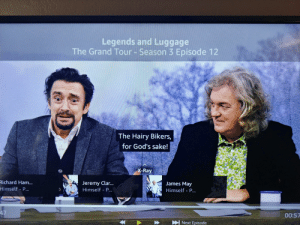 James May, Luggage, and Grand: Legends and Luggage  The Grand Tour- Season 3 Episode 12  The Hairy Bikers,  for God's sake!  X-Ray  CO  ichard Ham  Himself P  Jeremy Clar..  Himself - P..  James May  Himself - P  00:57 The hairy bikers, for God's sake! [The Grand Tour]