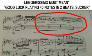 "Beats, Good, and Mean: LEGGERISSIMO MUST MEAN""  ""GOOD LUCK PLAYING 40 NOTES IN 2 BEATS, SUCKER""  31  se  leggierissimo  con Jorza  s2 Seriously, these sections should count as improv where you can make up the notes, or play what you want"