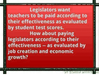As a high school teacher heading back to school this week, I second this motion.: Legislators want  teachers to be paid according to  their effectiveness as evaluated  by student test scores.  How about paying  legislators according to their  effectiveness as evaluated by  job creation and economic  growth? As a high school teacher heading back to school this week, I second this motion.