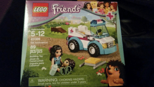 daily-hedgehogs:  Hedgehog plus LEGO! Yes, I am a bit spoiled.: LEGO friends  Ages/edadee  5-12  41086  Vet Ambulance  89  pcs/pzs  Building Toy  Jouet de  Construction  Juguete para  Construir  A WARNING: CHOKING HAZARD.  Small parts. Not for children under 3 years. daily-hedgehogs:  Hedgehog plus LEGO! Yes, I am a bit spoiled.