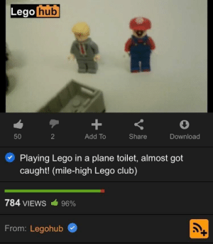 Pretty lewd if I do say so myself: Lego hub  +  50  2  Add To  Share  Download  Playing Lego ina plane toilet, almost got  caught! (mile-high Lego club)  784 VIEWS  96%  From: Legohub Pretty lewd if I do say so myself