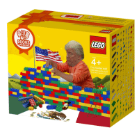 """lego: LEGO  NO  DOORS  ORWIND0WS  Ages  Tiny border wall  1000 miles worth of pcs  """"If you build it, they won't come."""""""