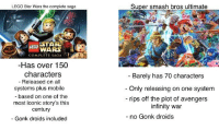 Lego Star Wars The Complete Saga: LEGO Star Wars the complete saga  Super smash bros ultimate  EGO STAR  WARS  COMPLETE SAGA  Has over 150  characters  - Barely has 70 characters  - Released on all  systems plus mobile  based on one of the  most iconic story's this  century  Gonk droids included  - Only releasing on one system  - rips off the plot of avengers  infinity war  no Gonk droids