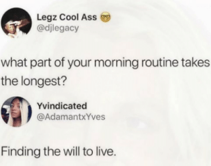 Ass, Dank, and Memes: Legz Cool Ass  @djlegacy  what part of your morning routine takes  the longest?  Yvindicated  @AdamantxYves  Finding the will to live. Suicide by words by 28_stab_wounds MORE MEMES