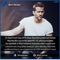 Did you know that ...  8fact Movies: LEHMI  8fact Movies  On April Fool's Day  2015, Ryan Reynolds posted on Twitter  that the film would be rated PG-13, which prompted  fan backlash as the Deadpool character often swears and  commits acts of graphic violence. Later that day, Reynolds  confirmed that it was a prank and the film would be R rated.  f/8factMovies  8fact movies Did you know that ...  8fact Movies