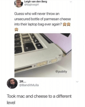 Instagram: @punsonly: Leigh van den Berg  @lipglossgirl  Guess who will never throw an  unsecured bottle of parmesan cheese  into their laptop bag ever again? AA  @pubity  @BanditMulla  Took mac and cheese to a different  level Instagram: @punsonly