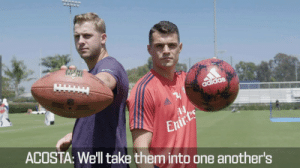 Jared Goff: 🏈 Granit Xhaka: ⚽  Only one pro footballer can win.  This is #GameRecognizeGame.  @JaredGoff16   @RamsNFL   @Arsenal https://t.co/E4qNXQW5sZ: LEIN  adidas  Enirts  ACOSTA: We'll take them into one another's Jared Goff: 🏈 Granit Xhaka: ⚽  Only one pro footballer can win.  This is #GameRecognizeGame.  @JaredGoff16   @RamsNFL   @Arsenal https://t.co/E4qNXQW5sZ