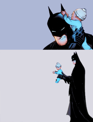 lemonadegarden:  Bruce: Alfred… what is this.Alfred: It is a baby, sir.Bruce: It's wearing a cap.Alfred: so it is, sir.Bruce: do you think it might look good in a cowl?Alfred:Bruce:Alfred:Bruce: I'M GONNA ADOPT TH-Alfred: NO.: lemonadegarden:  Bruce: Alfred… what is this.Alfred: It is a baby, sir.Bruce: It's wearing a cap.Alfred: so it is, sir.Bruce: do you think it might look good in a cowl?Alfred:Bruce:Alfred:Bruce: I'M GONNA ADOPT TH-Alfred: NO.