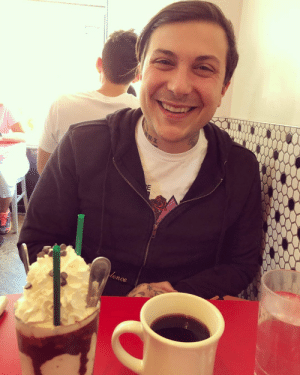 Instagram, Tumblr, and Vegan: lence postmcrnews:frankieromustdie: …also this is what my face does when i get to sit across from my favorite person in the world and have a vegan Chocolate Chip Cookie Dough milkshake for breakfast. 🤷‍♀️🖤☕️