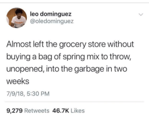 Life, Spring, and Time: leo dominguez  @oledominguez  COLGATI  Almost left the grocery store without  buying a bag of spring mix to throw,  unopened, into the garbage in two  weeks  7/9/18, 5:30 PM  9,279 Retweets 46.7K Likes You don't know my life! (I do this every time)