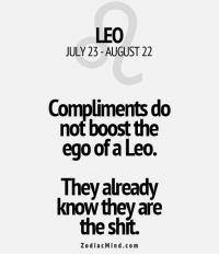 Shit, Boost, and Free: LEO  JULY 23-AUGUST 22  Compliments do  not boost the  ego of a Leo.  already  They know they are  the shit.  Zodiac Mind.com Mar 22, 2017. You are not sure whether to go into a new relationship with a person you like. You are  . ...FOR FULL HOROSCOPE VISIT: http://horoscope-daily-free.net