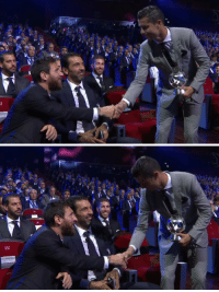 Leo Messi congratulating Cristiano Ronlado on winning the striker of the year award.   Two legends of the game 👍 https://t.co/4uq2nT8ZnH: Leo Messi congratulating Cristiano Ronlado on winning the striker of the year award.   Two legends of the game 👍 https://t.co/4uq2nT8ZnH