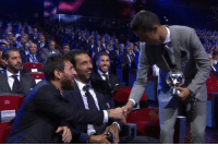 Leo Messi congratulating Cristiano Ronlado on winning the striker of the year award.   Two legends of the game 👍 https://t.co/arKK0uss0l: Leo Messi congratulating Cristiano Ronlado on winning the striker of the year award.   Two legends of the game 👍 https://t.co/arKK0uss0l