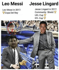 Lingaard 1 😂👌🏽: Leo Messi  Jesse Lingard  Jesse Lingard in 2017:  Community Shield ?  UEL Cup ?  EFL Cup ?  Leo Messi in 2017:  Copa Del Rey Lingaard 1 😂👌🏽