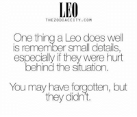 Com, Leo, and One: LEO  THEZODIACCITY.COM  One thing a Leo does well  is remember small details  especially if they were hurt  behind the situation.  You may have forgotten, but  they didn't. I'm so much like that..