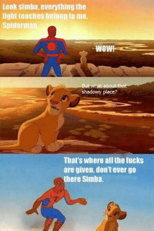 Meme, Tumblr, and Spiderman: Leok simba, everything the  light touches belong to me,  Spiderman  But what about that  shadowy place?  That's where all the fucks  are given, don't ever go  there Simba. spiderman meme   Tumblr