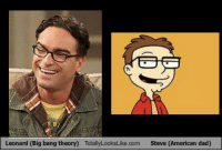 Does anyone else see it? Like & Share! Like The Big Bang Theory Memes fore more BBT MEMES!: Leonard (Big bang theory) TotallyLooksLike.com Steve (American dad) Does anyone else see it? Like & Share! Like The Big Bang Theory Memes fore more BBT MEMES!
