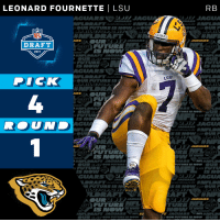 The @Jaguars select @_fournette with the #4 overall pick!  #NFLDraft https://t.co/g9YDgpqj4m: LEONARD FOURNETTE I LSU  DRAFT  DRAFT  2017  GUARS  LHIMIEL RAFT JAGUANA  DICK  OUR FUTURE IS  FOUT  DRAFT  UTURIS  DRAF  UAIRS  RAFT JAGUARS  JAGUA  FUTURE  RAFT  AN RAFT JAGUARS  RB  LSU  JAGUARS  DRAFT  AGUARS  OUR 2  AGUA  LSU  FT  TURE IS NO  JAGUARS  DRAFT  GUARS  FUTU  DRAFT  JAGUARS The @Jaguars select @_fournette with the #4 overall pick!  #NFLDraft https://t.co/g9YDgpqj4m