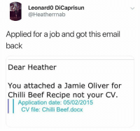 Beef, Funny, and Date: Leonard0 DiCaprisun  @Heatherrnab  Applied for a job and got this email  back  Dear Heather  You attached a Jamie Oliver for  Chilli Beef Recipe not your CV  Application date: 05/02/2015  CV file: Chilli Beef.docx In other words...when can you start?