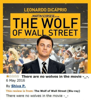wall street: LEONARDO DICAPRIO  AMARTIN SCORSESE  PICTURE  THE WOLF  OF WALL STREET  There are no wolves in the movie --,  6 May 2016  By Shiva P.  This review is from: The Wolf of Wall Street (Blu-ray)  There were no wolves in the movie -_-