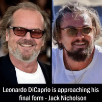 The transition is almost complete.: Leonardo DiCaprio is approaching his  final form Jack Nicholson The transition is almost complete.