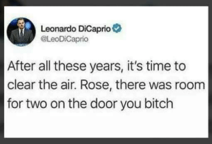 Bitch, Leonardo DiCaprio, and Rose: Leonardo DiCaprio  @LeoDiCaprio  After all these years, it's time to  clear the air. Rose, there was room  for two on the door you bitch