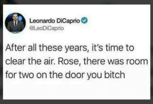 Bitch, Leonardo DiCaprio, and Rose: Leonardo DiCaprio  @LeoDiCaprio  After all these years, it's time to  clear the air. Rose, there was room  for two on the door you bitch I can die peacefully now