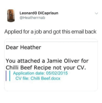 Beef, Memes, and Date: Leonardo DiCaprisun  @Heatherrnab  Applied for a job and got this email back  Dear Heather  You attached a Jamie Oliver for  Chilli Beef Recipe not your CV.  Application date: 05/02/2015  CV file: Chilli Beef.docx @spray always posts 🔥
