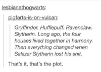 it has a point...  -The Brave Hufflepuff: lesbianathogwarts:  igfarts-is-on-vulcan  Gryffindor Hufflepuff Ravenclaw.  Slytherin. Long ago, the four  houses lived together in harmony.  Then everything changed when  Salazar Slytherin lost his shit.  That's it, that's the plot. it has a point...  -The Brave Hufflepuff