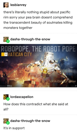 ROBOPOPE, THE ROBOT POPE!: lesbianrey  there's literally nothing stupid about pacific  rim sorry your pea brain doesnt comprehend  the transcendent beauty of soulmates killing  monsters together  dasha-through-the-snow  ROBOPOPE, THE ROBOT POPE  VATICAN CITY  FIACIFIC RIM  OLEGEMORY PO  lordascapelion  How does this contradict what she said at  all?  dasha-through-the-snow  It's in support ROBOPOPE, THE ROBOT POPE!