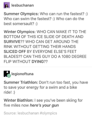 Not to mention skeleton—a sport that's name warns you of what you can break.: lesbuchanan  Summer Olympics: Who can run the fastest? :)  Who can swim the fastest? :) Who can do the  best somersault? :)  Winter Olympics: WHO CAN MAKE IT TO THE  BOTTOM OF THIS ICE SLIDE OF DEATH AND  SURVIVE?? WHO CAN GET AROUND THE  RINK WITHOUT GETTING THEIR HANDS  SLICED OFF BY EVERYONE ELSE'S FEET  BLADES?? CAN THIS GUY DO A 1080 DEGREE  FLIP WITHOUT DYING??  legionoftuna  Summer Triathlon: Don't run too fast, you have  to save your energy for a swim and a bike  ride! :)  Winter Biathlon: I see you've been skiing for  five miles now here's your gun  Source: lesbuchanan Not to mention skeleton—a sport that's name warns you of what you can break.