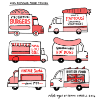 """Dogs, Food, and Tumblr: LESS POPULAR FOOD TRUCKS  D AVE S  HYPOTHETICAL  FAMoUS  UNWASHED  VEGETABLES  E-COLI  GRILL L  Questionable  HOT DOGS  VINTAGE Sushi  BRITISH FOOD  ao sinee l918»  FouR eyes Bt GEMMA cORRELL 2014 <p><a href=""""http://tumblr.tastefullyoffensive.com/post/76955240611/gemmacorrell-foureyes"""" class=""""tumblr_blog"""">tastefullyoffensive</a>:</p>  <blockquote><p>[<a class=""""tumblr_blog"""" href=""""http://gemmacorrell.tumblr.com/post/76945737688/via-four-eyes-comic-strip-on-gocomics-com"""">gemmacorrell</a>/<a href=""""http://www.gocomics.com/four-eyes/2014/02/17#.UwHpeftL8lZ.tumblr"""">foureyes</a>]</p></blockquote>"""