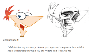 Phineas and Ferb, Help, and Art: lesscuriousart  I did this for my anatomy class a year ago and every once in a while I  see it while going through my art folders and it haunts me I need Phineas and Ferb to invent something that will help me unsee this