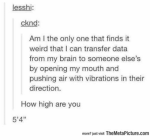 """How High, Tumblr, and Weird: lesshi:  cknd  Am I the only one that finds it  weird that I can transfer data  from my brain to someone else's  by opening my mouth and  pushing air with vibrations in their  direction.  How high are you  5'4""""  more? just visit TheMetaPicture.com srsfunny:  Something I've Never Thought About Before"""