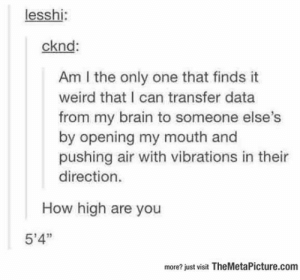 "How high are you: lesshi:  cknd:  Am I the only one that finds it  weird that I can transfer data  from my brain to someone else  by opening my mouth and  pushing air with vibrations in thei  direction.  How high are you  5'4""  more? just visit TheMetaPicture.com How high are you"