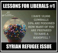 Dear Libs: If Syrian Refugees were gumballs & knowing 10% of the gumballs are poisoned, ask yourselves if you'd actually grab a handfull: LESSONS FOR LIBERALS #1  IPHONE  CONSERVATIVE  I HAVE 10,000  GUMBALLS  10% ARE POISONED  HOW MANY OF YOU  ARE PREPARED  TO HAVE A  HAND FULL  SYRIAN REFUGEE ISSUE Dear Libs: If Syrian Refugees were gumballs & knowing 10% of the gumballs are poisoned, ask yourselves if you'd actually grab a handfull