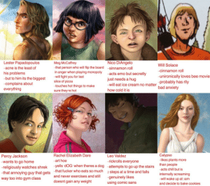 jason-gracefully:Tag yourself: The Hidden Oracle edition: Lester Papadopoulos  acne is the least of  his problems  but to him its the biggest will fightyou for last  -complains about  everything  Nico DiAngelo  Meg McCaffrey  -that person who will flip the board sinnamon roll  in anger when playing monopoly -acts emo but secretly  Will Solace  cinnamon roll  -unironically loves bee movie  -probably has rlly  bad anxiety  slice of pizza  -touches hot things to make  sure theyre hot  just needs a hug  -will eat ice cream no matter  how cold it is  Calypso  Rachel Elizabeth Dare  -art hoe  Leo Valdez  rickrolls everyone  Percy Jackson  wants to go home  religiously watches shrek -yells dOG when theres a dog attempts to go up the stairs  -that annoying guy that gets -that fucker who eats so much  way too into gym class  -likes plants more  than people  internally screaming  2 steps at a time and falls  and never exercises and still  doesnt gain any weight  will wake up at 3am  and decide to bake cookies  using comic sans jason-gracefully:Tag yourself: The Hidden Oracle edition