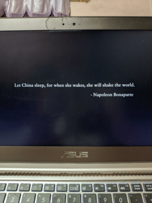 I was watching a movie ( Crazy rich Asian [ I'm sorry for that ] ) it showed this at the starting...what you guys think ?: Let China sleep, for when she wakes, she will shake the world.  - Napoleon Bonaparte  SUS  12  f3  f4  15  f12  f6  f11  f7  f10  prt sc  f8  f9  pause  break  sysro  +  &  k  4  3  6  5  0  7  8 I was watching a movie ( Crazy rich Asian [ I'm sorry for that ] ) it showed this at the starting...what you guys think ?