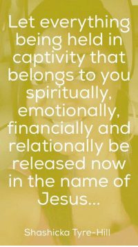 captivated: Let everything  being held in  captivity that  belongs to you  spiritually,  emotionally,  financially and  relationally be  released now  in the name of  Jesus.  Shashicka Tyne-Hill