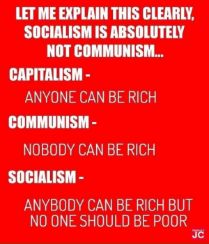 The Social Democrats are at it again: LET ME EXPLAIN THIS CLEARLY,  SOCIALISM IS ABSOLUTELY  NOT COMMUNI.M.  CAPITALISM -  ANYONE CAN BE RICH  COMMUNISM -  NOBODY CAN BE RICH  SOCIALISM -  ANYBODY CAN BE RICH BUT  NO ONE SHOULD BE POOR  Slatford  JC The Social Democrats are at it again